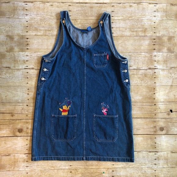 4e0956e2f57 Disney Dresses   Skirts - VINTAGE DISNEY Winnie the Pooh denim jumper dress